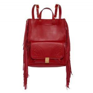 Sancia • Lucille Red Leather Fringe Backpack